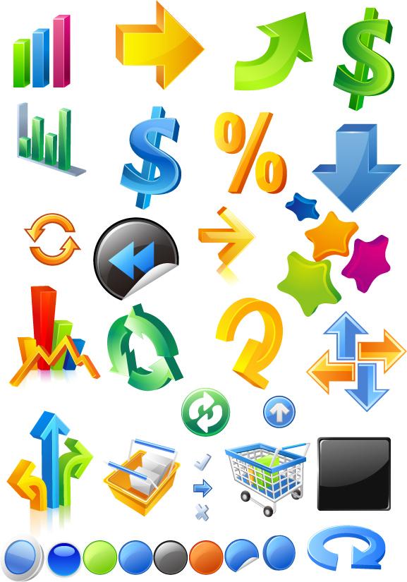 free vector Threedimensional icon vector symbols