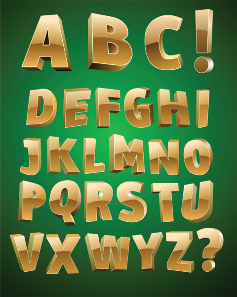 free vector threedimensional letters vector