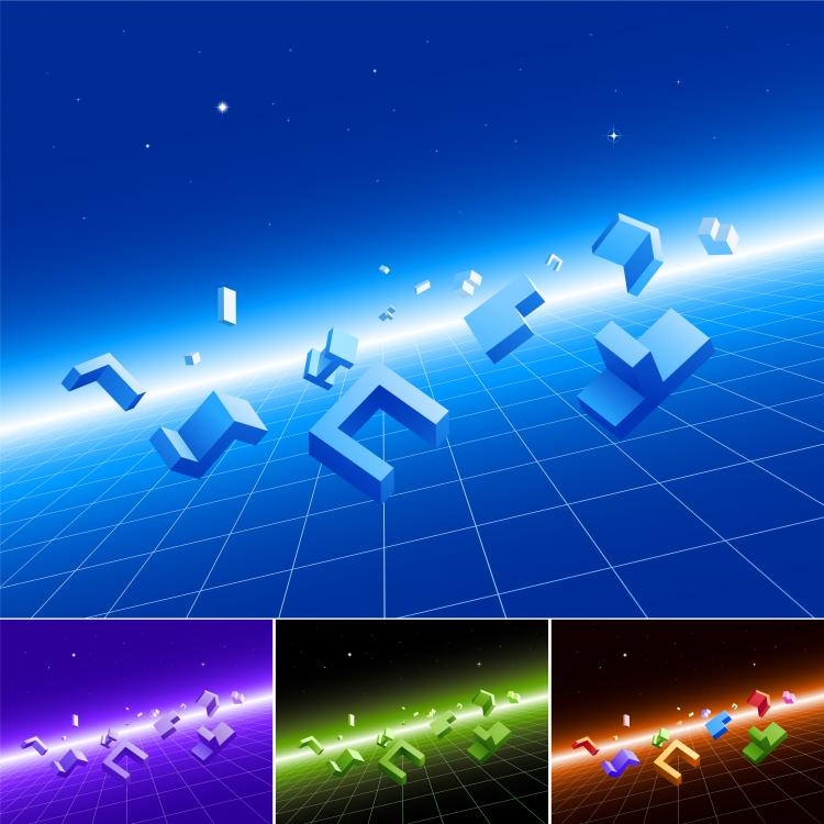 free vector Threedimensional sense of space modules and vector background
