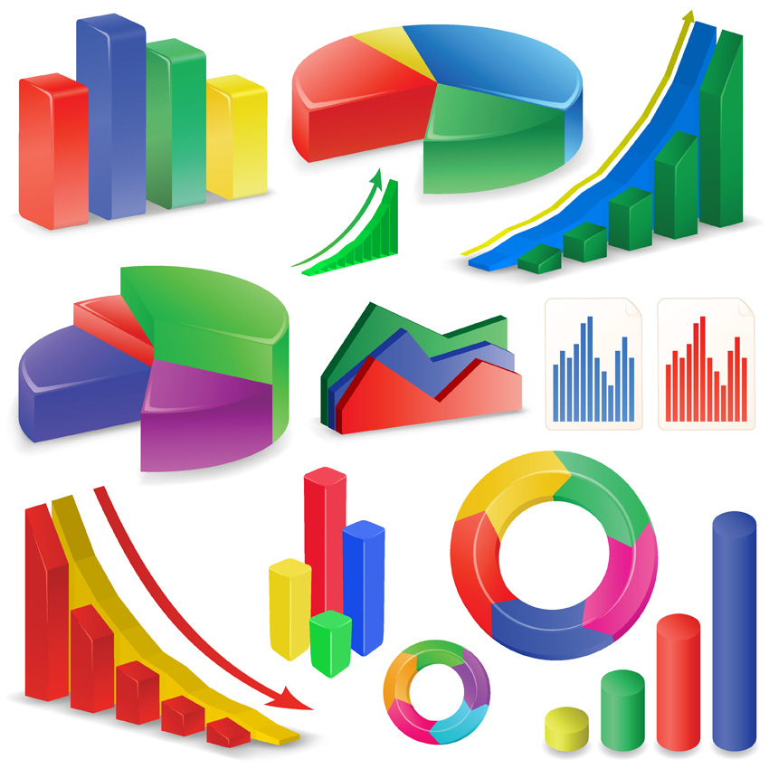 free vector Threedimensional statistics vector