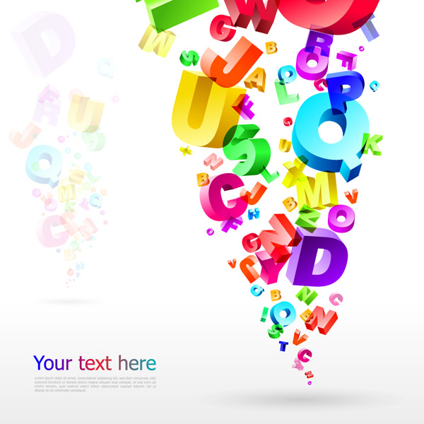 free vector Threedimensional vector colorful letters