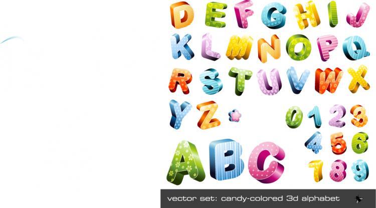 free vector Threedimensional vector cute letters