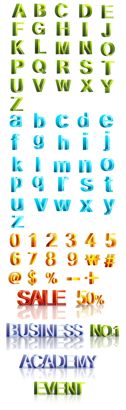 free vector Threedimensional vector letters and numbers revised edition