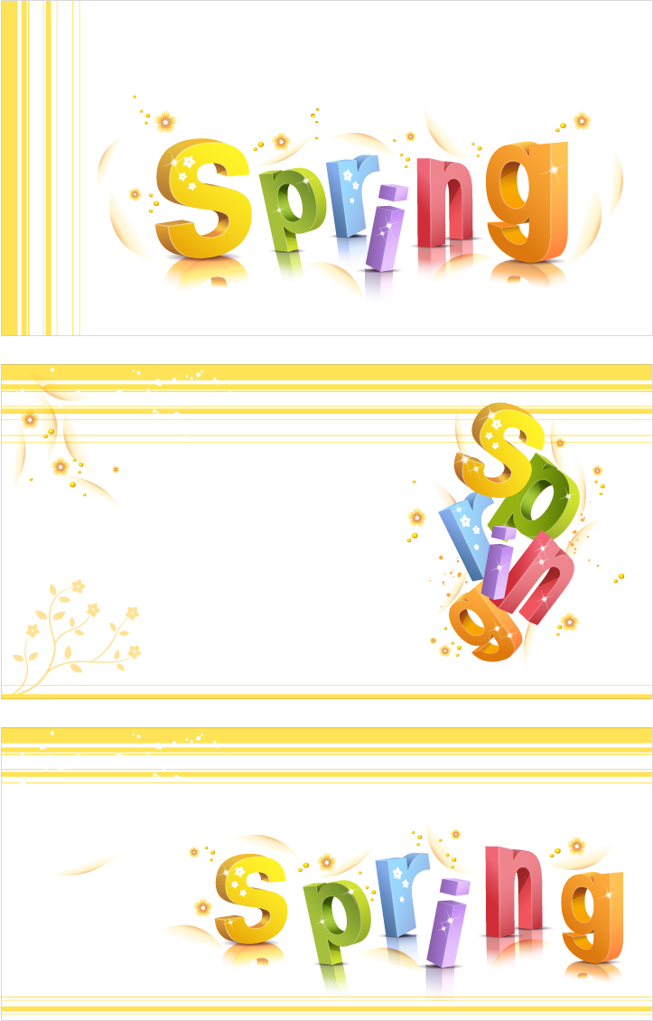 free vector Threedimensional word pattern vector spring