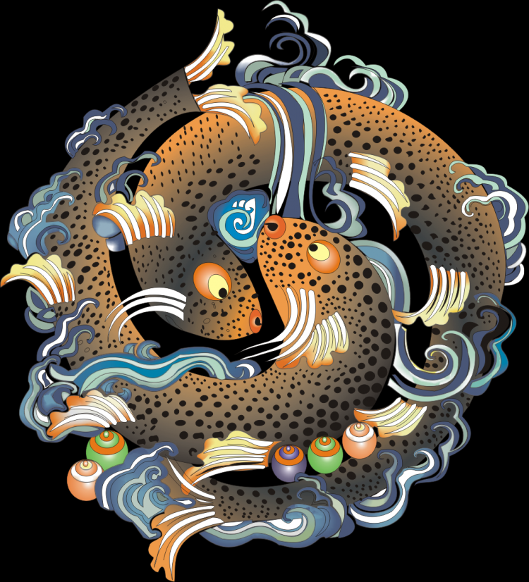 free vector Tibetan auspicious eight baby umbrella goldfish aquarius lotus white conch the lucky knot victory buildings kingland