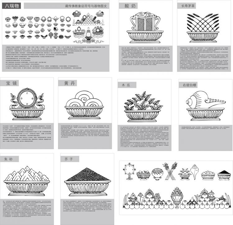 free vector Tibetan buddhist symbols and artifacts of the two plans eight rui vector