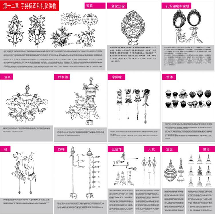 Tibetan buddhist symbols and objects figure of twelve handheld tibetan buddhist symbols and objects figure of twelve handheld objects for identification and etiquette vector free vector buycottarizona