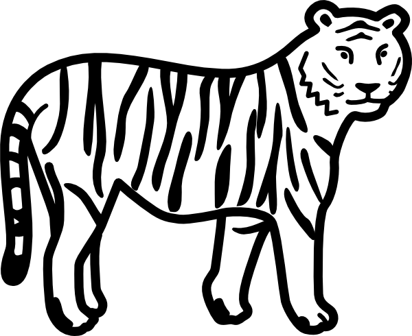 free vector Tiger Standing Looking And Watching Outline clip art