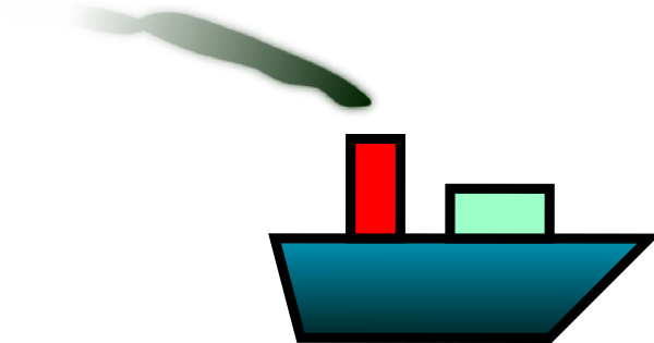 free vector Tomk Ship With Smoke clip art