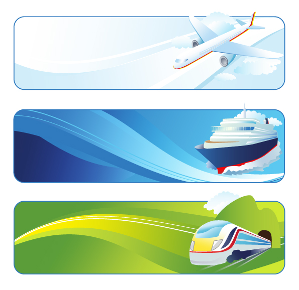 free vector Tourism, aircraft, ships, trains, cars, Zijia You, bicycle