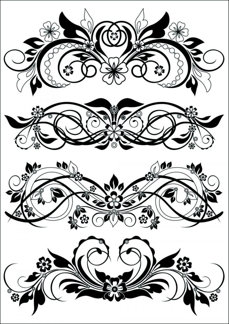 free vector Traditional black and white pattern vector