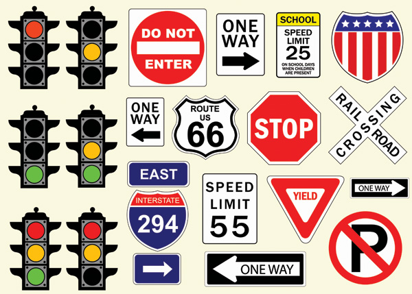 free vector Traffic signs vector