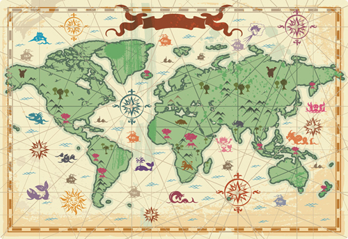 Travel and tourism elements of vector material 3 travel world free vector travel and tourism elements of vector material 3 travel world maps old maps gumiabroncs Choice Image