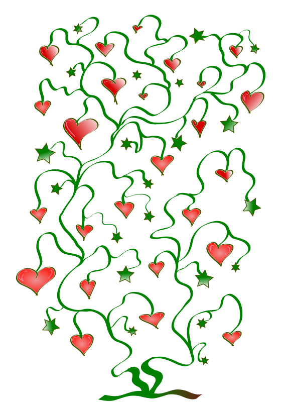 free vector Tree of Hearts with Leaves of Stars