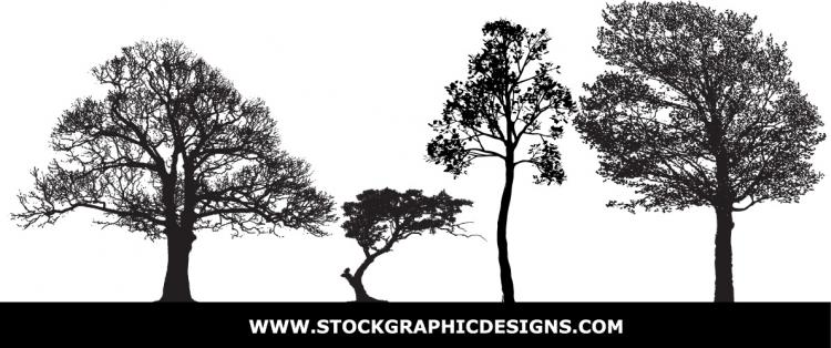 free vector Tree silhouettes vector material