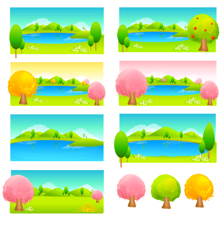 free vector Trees and water color vector