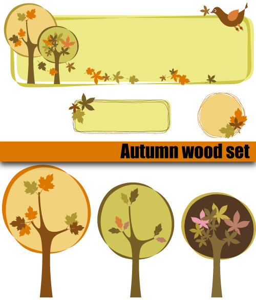 free vector Trees decorative box vector subject