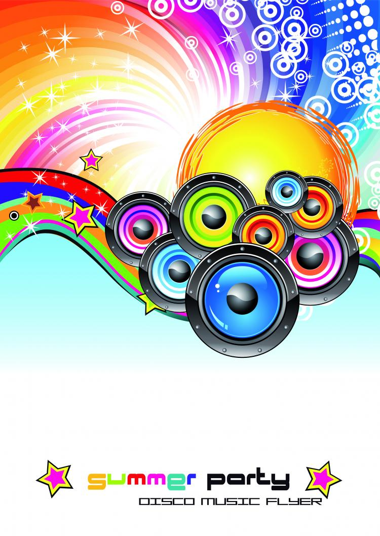 free vector Trend disco party and car vector