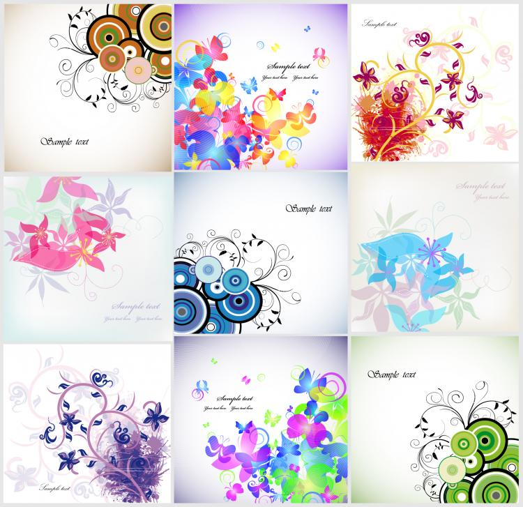 free vector Trend vector floral cards flower cards