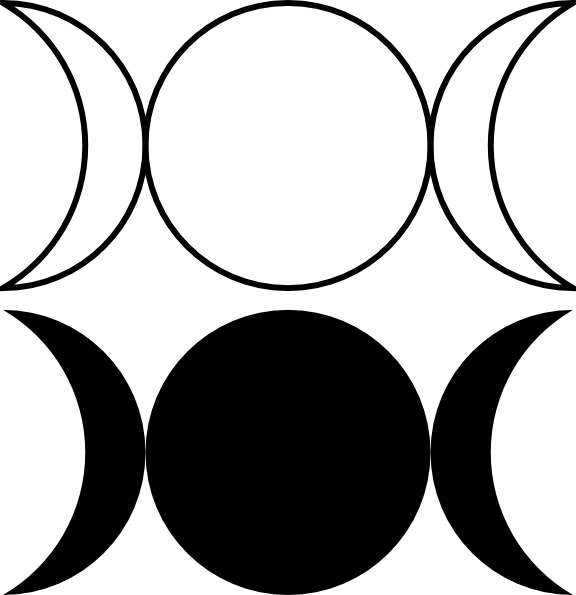 free vector Triple Goddess Symbol (waxing Crescent, Full Moon, Waning Crescent)Outlined And Filled Versions clip art