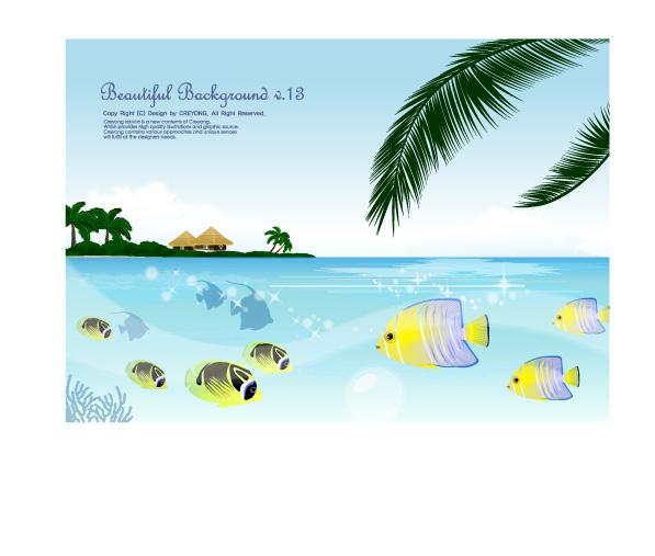 free vector Tropical fish theme vector