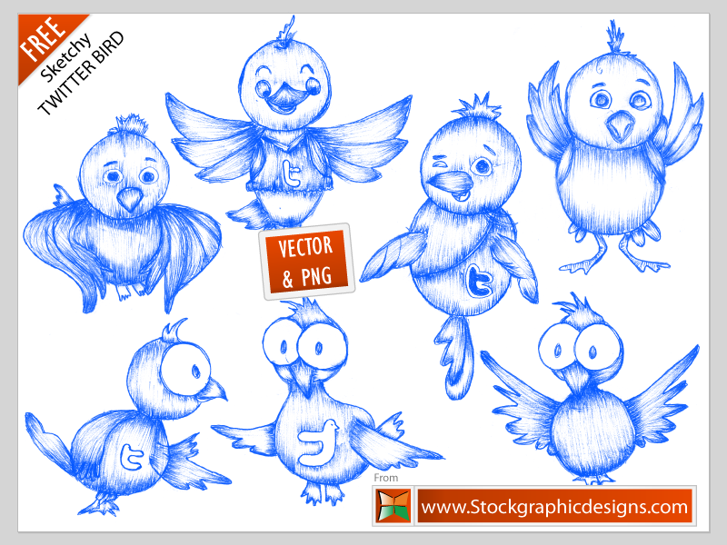 free vector Twitter icon vector handdrawn pencil