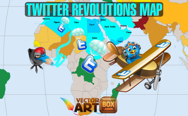 free vector Twitter Revolutions Map