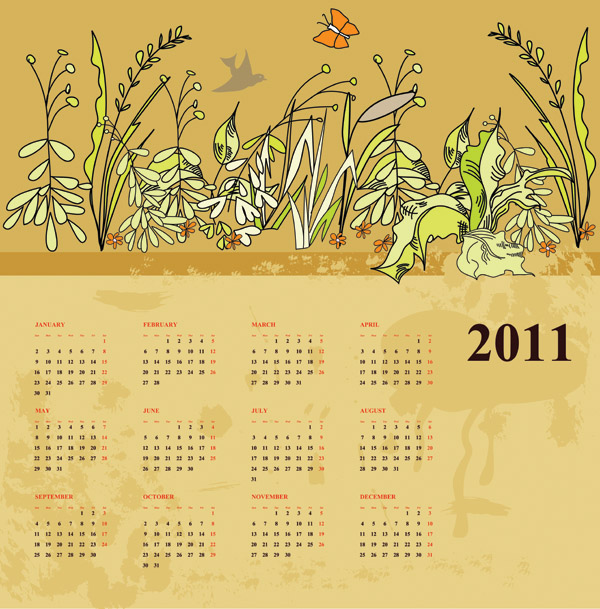 free vector Two flowers calendar 2011 vector