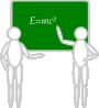 free vector Two People Near Blackboard clip art