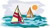 free vector Two Sailboats In Sunset clip art