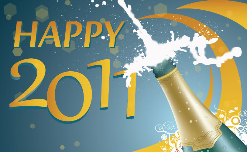free vector Uncorking The New Year Vector Illustration