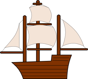 free vector Unfurled Sailing Ship clip art