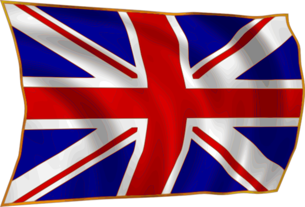 free vector United Kindom Union Flag Fluttering In Breeze clip art