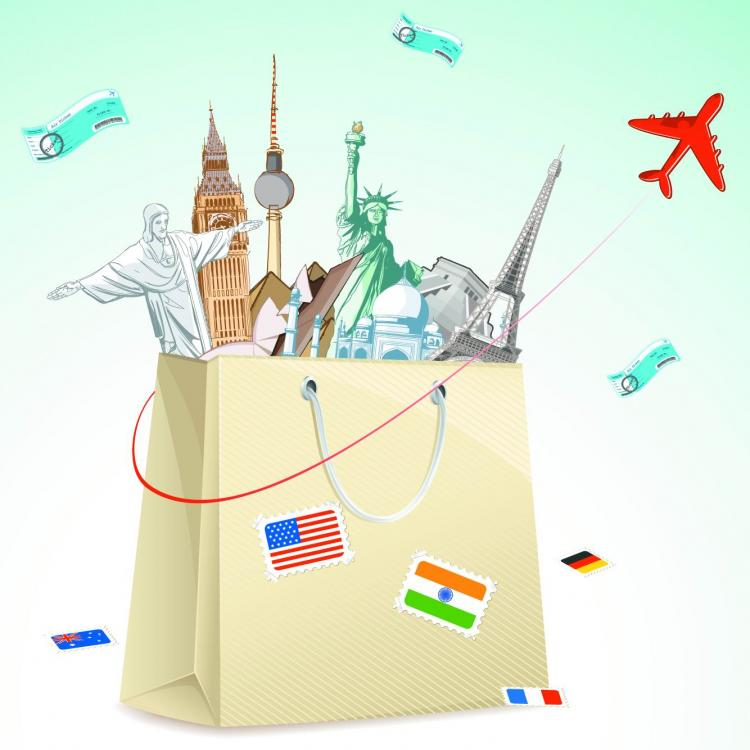 free vector Universal travel theme vector