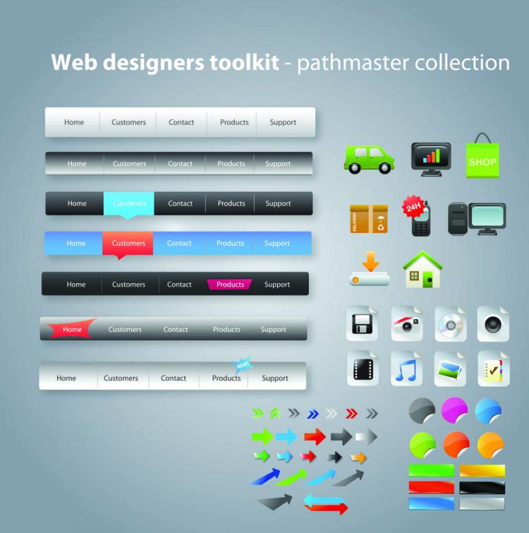 free vector Useful web design tools pack 03 vector