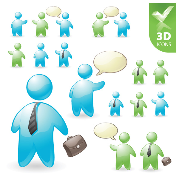 free vector User roles and pentacle 3d vector