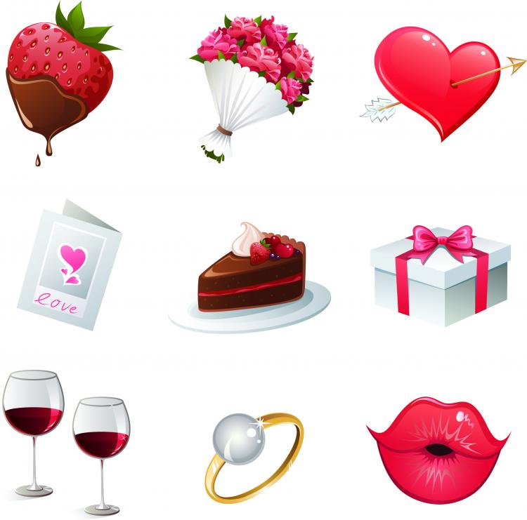 Group Of Free Vector Valentines Day