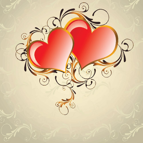 free vector Valentine day heartshaped vector background