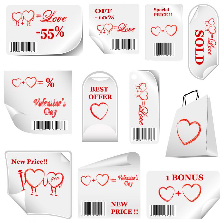 free vector Valentine day promotional label vector