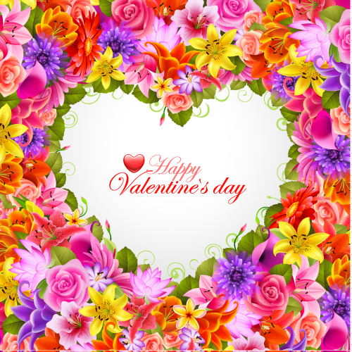 free vector Valentine39s day flowers background 04 vector