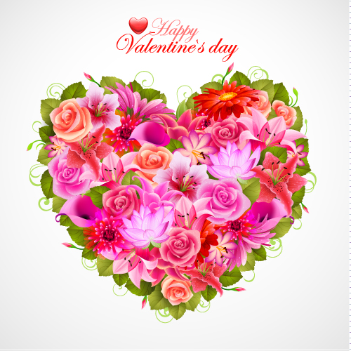free vector Valentine39s day flowers background 05 vector
