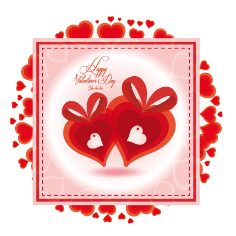 free vector Valentine39s day heartshaped card 01 vector