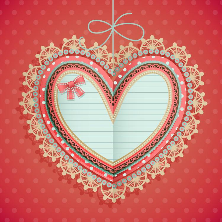 free vector Valentine39s day heartshaped tag 01 vector