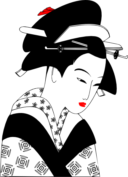 free vector Valessiobrito Japan Woman Black And White clip art