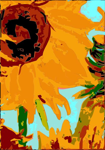 free vector Van Gogh 's Sun Flower clip art