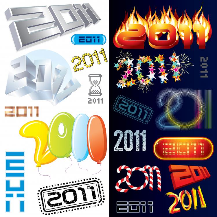 free vector Variety of creative fonts 2011 font