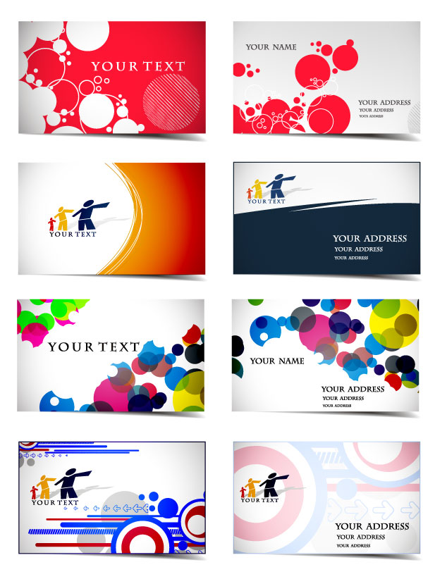 Variety of dynamic flow line business card template 01 vector Free ...