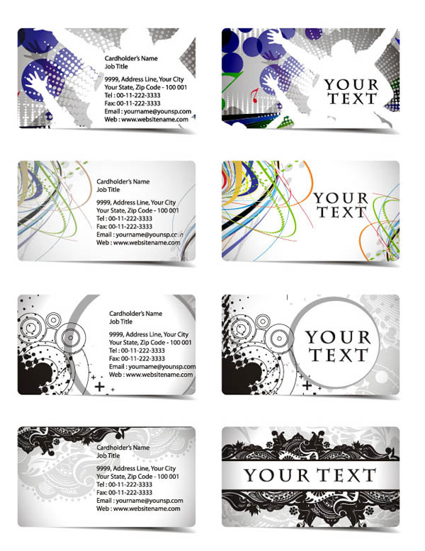 Variety of dynamic flow line business card template 01 vector Free – Line Card Template