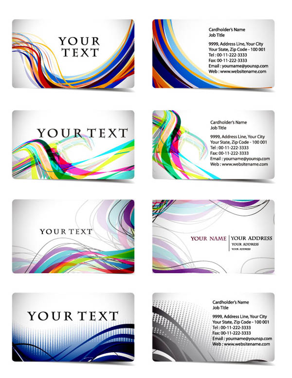 free vector Variety of dynamic flow line business card template 01 vector