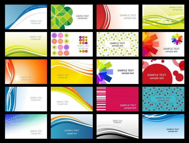 Variety of dynamic flow line of business card templates 02 vector ...